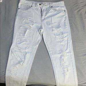 Forever 21 Distressed White Washed Jeans